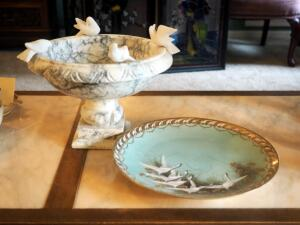 "9.5"" Marble Pedestal Bowl With Birds And Hand Painted Nipon Plate"