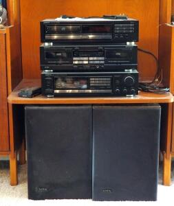 Onkyo Stereo System Including CD Player Model DX 1400, Cassette Tape Deck TA-W200, Tuner /Amplifier TX-822 And Infinity Speakers RS-9 Qty. 2