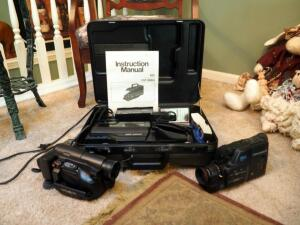 Hitachi VM-3000A Video Camera/Recorder With Battery, Charger And Carring Case, Minolta Video Camera Model 8-852 & Canon Video Camcorder E65
