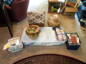 Wood Upholstered Foot Stool With Sewing And Craft Supplies Including Cross Stitch Patterns & Books, Buttons, Craft Kits, Baskets And More