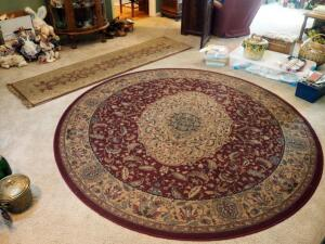 "Shaw Living Kathy Ireland Home 7' 7"" Round Provencal Area Rug And Mohawk Home Harrington Runner 25"" X 94"""