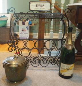 "Metal Wall Mounted Wine Rack With Scroll Design And Glass Storage 32"" X 26"" X 9"", Brass Ice Bucket With Liner And 19"" ""Pennrich 1874"" Bottle"