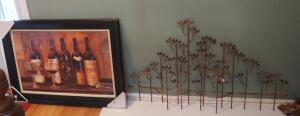 "Wood Framed Wine Themed Print ""32 X 45"" And Metal Leaf Wall Art 32"" X 54"""