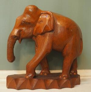 "14.5"" X 15"" Hand Carved Elephant Statue"