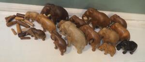"Carved Wood Elephant Collection 2"" - 4.5"" Tall, Unmarked, Qty. 15 And 14-Piece African Bones Game"