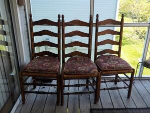 "Solid Wood Ladder Back Dining Chairs With Rush Seats Qty. 4, 42"" Tall"