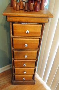 "6-Drawer Solid Wood Pedestal Storage Cabinet With Porcelain Knobs 38"" X 14"".25"" X 14"", Contents Of Drawers Include Family Recipes"