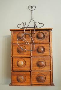 "Primitive Style Solid Wood 6-Drawer Wall Mounted Storage Cabinet 15"" X 11"" X 6"" And Wire Plate Hanger And More"