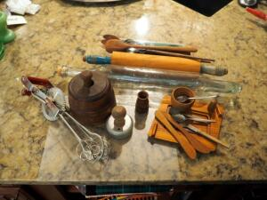 Kitchen Primitives Including Wood Butter Mold, Glass And Wood Rolling Pins, Hand Mixer, Biscuit Cutter, And More
