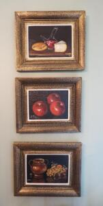 "Framed Hand Painted Canvas Kitchen Art Decor Qty. 3, 10.5"" X 12.75"""