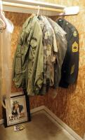 Military Uniforms Size 44R, Jackets, Patches, Uncle Sam Tin Poster, And Etched Glass Eagle