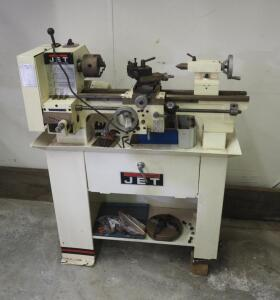 "2001 JET Belt Drive Bench Lathe, Model BD-920N, 3/4 HP, 48"" x 36"" x 17"", Includes Attachments And Stand, Foot On Stand Needs Repair"
