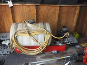 50 Gallon Fimco Gas Powered Sprayer, Briggs And Stratton 3.5 HP Motor, Includes Hose And Spray Nozzle, Bidder Responsible For Proper Removal