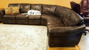 Nail Head Trimmed Leather Pit Group With Dual Electric Recliners, Dalmatian Not Included