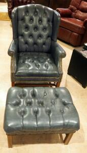 "Button Tufted Wingback Parlor Chair With Matching Ottoman, Chair: 40"" x 30"" x 34"", Ottoman: 16"" x 27"" x 22"""