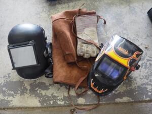 Hobart Welding Hood, Full Face Welding Mask, Leather Gloves, Apron, And Welding Safety Goggles