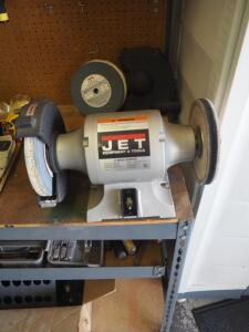 JET 8 Inch Bench Grinder, Model JBG-81, Includes Additional Grinding And Buffing Wheel, Bidder Responsible For Proper Removal, Mounted To Workbench