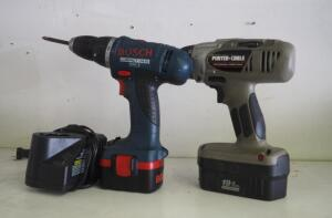 "Bosch Cordless 14.4 V Drill With Charger And Porter Cable 1/2"" Driver Model 984 (Missing Charger)"