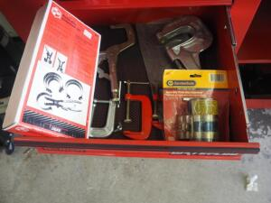 Vise Grips, Punch, Clamps, And Piston Ring Compressor Set, And Piston Ring Compressor, Contents Of Drawer