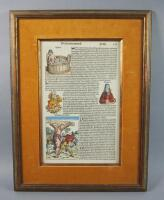 Original Page From The 1493 Nuremberg Chronicle, Framed With Contemporary Hand Coloring