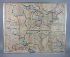 Large Map Of The United States And Canada, 1855, Rare