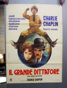 "Vintage Charlie Chaplin Movie Poster ""Il Grande Dittatore"" (The Great Dictator), Italian Release"