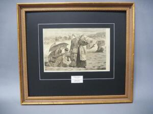 Original Antique Winslow Homer Woodblock Print From 1874, Matted And Framed, No Glass