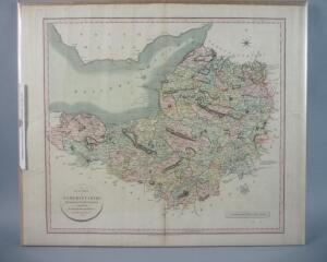 Large Hand Colored Map Of Somersetshire, England, 1805