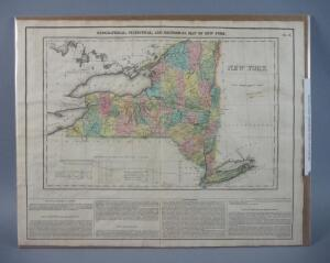 Original Map Of New York, 1823, Rare