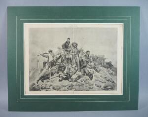 "Antique Frederic Remington Engraving: ""The Last Stand"" Original Woodblock From Harper's Weekly, Jan. 10, 1891"