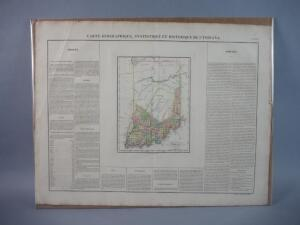Original Map Of Indiana, 1822, Rare