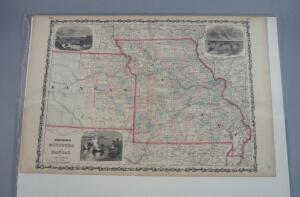 Johnson & Browning Double Page Hand Colored Map Of Missouri/Kansas, 1862, Rare