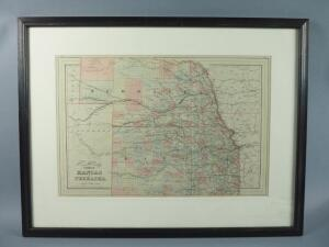 Vintage Hand Colored S. Augustus Mitchell Map Of Kansas/Nebraska, 1884, Framed