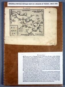 Original Abraham Ortelius Map of Picardia (Germainia), Circa 1593