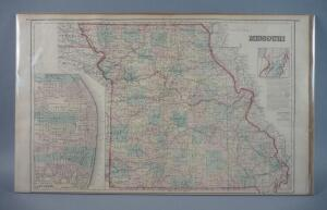 Large Antique Hand Colored Map Of Missouri, 1876