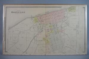 Large Antique Hand Colored Map Of The City Of Boonville, Missouri, Circa 1870s/80s