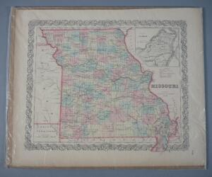 Original Antique Map Of Missouri, 1855