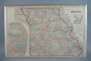 Large Hand Colored Map Of the State of Missouri, 1860