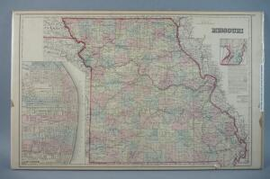 Large Hand Colored Map Of The State Of Missouri, 1863