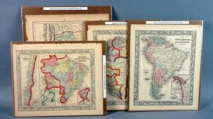 Original Vintage Hand Colored Maps Of South America, 1800s, Qty 4