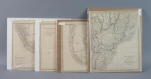 Antique Hand Colored Maps Of South America, 1837-1840, Qty 4