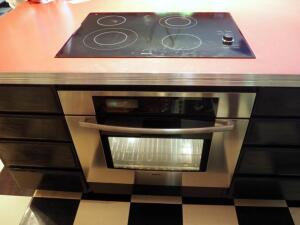 "Bosch Electric Single Built In Oven, Model HBL745, Face Measures 23.25"" x 29.25"" & Bosch Ceramic Glass Cook Top, Model NES736UC, 21"" x 30"""