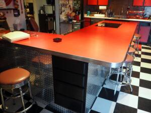 "Diamond Plate & Chrome Retro L-Shaped Kitchen Island W/ 17 Drawers & 5 Storage Cabinets, 36"" x 124"" x 83"", P/U By Appt Only, Does Not Include..."