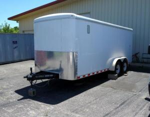"2016 Doolittle Enclosed Bullitt Cargo Trailer, 18'6""L, Reinforced Floor, Power Box, Generator Hole, Shelves, Lighting, Leveling Jacks At Each Corner"