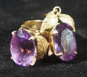 Gold Ring Marked 18k, With Violet Colored Stone In Leaf Setting, Size 7-3/4 And Matching Pendant, 9.98 g Total Weight, Weight Includes Stones