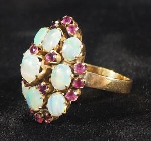 Gold Ring Marked 18k With Opalescent Stones, Size 7, 5.85 g Total Weight Including Stones