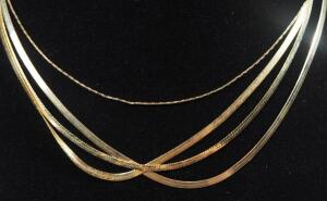 "Gold Necklaces Marked 14kt, Lengths Range 16""-18"" Long, 11.67 g Total Weight, Some Marked Italy"