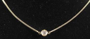 "Gold Necklace Marked 14kt With Clear Stone, 18"" Long, 2.48 g Total Weight Including Stone"