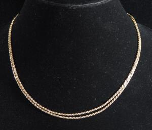 "Double Stranded Gold Necklace Marked 14k Italy, 18"" Long, 11 g Total Weight"