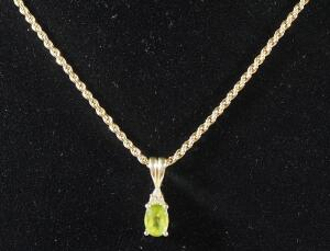 "Gold Necklace Marked 14kt Italy, 18"" Long, With Unmarked Pendant With Green Stone, 6.22 g Total Weight Including Stone"